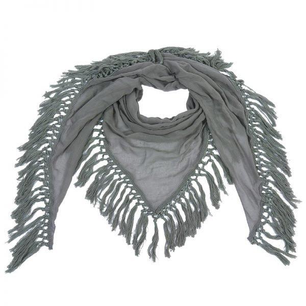 Sjaal Autumn fringe groen groene driehoek sjaals grote omslagdoeken dames accessoires online kopen