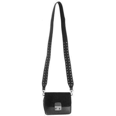 Tas Favo black zwart zwarter tas tassen met verstelbare band hengsel zilveren studs dames tassen online