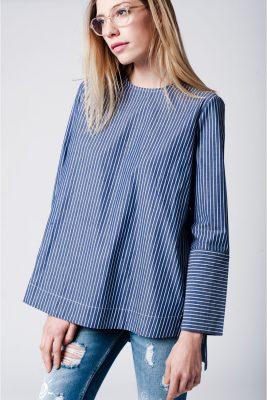 Blauwe Trui strepen blauw dames oversized trui splitten kleding truien blouses online bestellen