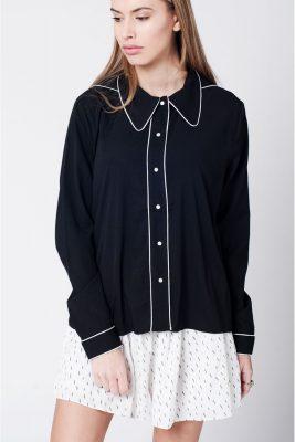 Blouse Buttons zwart zwarte dames blouses blousen witte streep fashion kleding vrouwen musthave tops truien