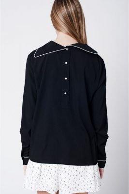 Blouse Buttons zwart zwarte dames blouses blousen witte streep fashion kleding vrouwen musthave tops truien achterkant