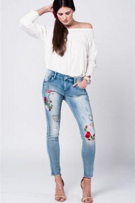 Jeans flowers licht gewassen dames spijkerbroek geborduurde bloemen musthave broeken