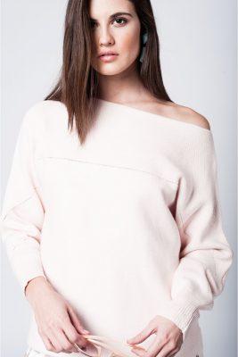Roze off the shoulder Trui truien baby roze pink dames strapless truien fashion kleding sweaters