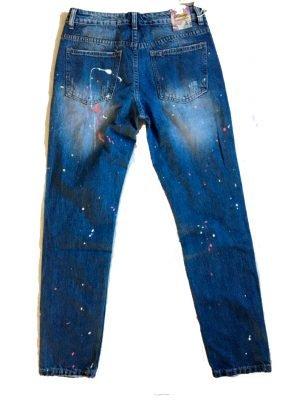 Spijkerbroek paint boyfriend model dames spijkerbroeken online goedkope broeken met neon verf spetters kopen online