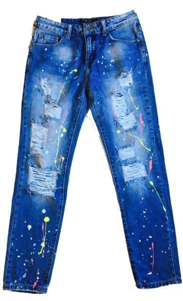Spijkerbroek paint boyfriend model dames spijkerbroeken online goedkope broeken met neon verf spetters voorkant