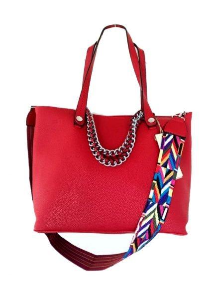 Tas Guitarstrap rood rode dames tas met zilveren ketting hengsel musthave soepele goedkope mooie dames tassen online