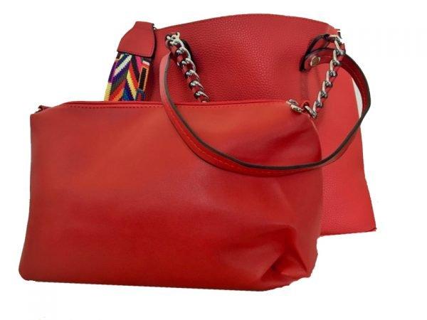 Tas Guitarstrap rood rode dames tas met zilveren ketting hengsel musthave soepele goedkope mooie dames tassen online bag in bag