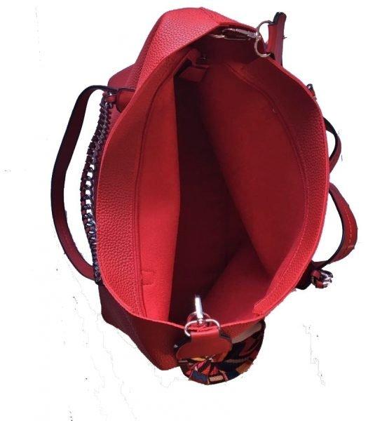 Tas Guitarstrap rood rode dames tas met zilveren ketting hengsel musthave soepele goedkope mooie dames tassen online binnenin