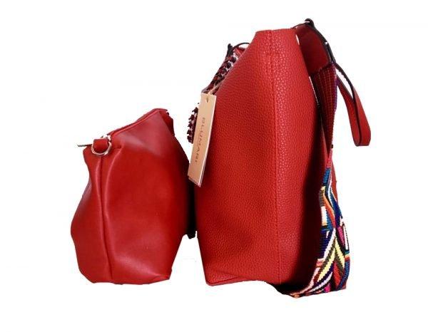 Tas Guitarstrap rood rode dames tas met zilveren ketting hengsel musthave soepele goedkope mooie dames tassen online zijkant