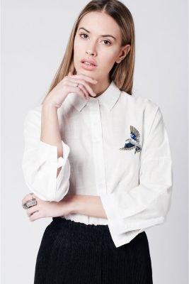 Witte Blouse Bird wit katoenen blouse hemd dames hemden vogel patch musthave dames kleding fashion