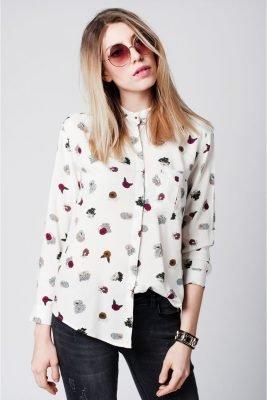 Witte Blouse Bloemenprint witte dames blouses blousen online musthave fashion kopen kleding