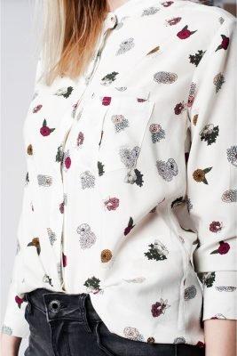 Witte Blouse Bloemenprint witte dames blouses blousen online musthave fashion kopen kleding details