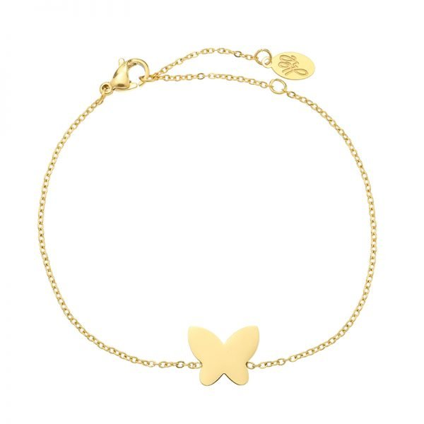Armband Vlinder goud gouden rvs stainlessteel armbanden bracelets butterfly bedel dames kettingen sieraden online