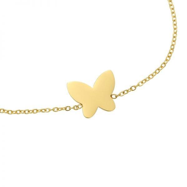 Armband Vlinder goud gouden rvs stainlessteel armbanden bracelets butterfly bedel dames kettingen sieraden online details