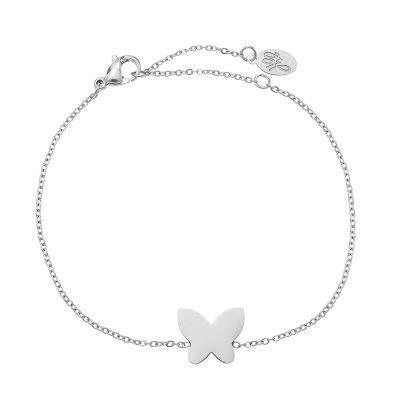 Armband Vlinder zilver zilveren rvs stainlessteel armbanden bracelets butterfly bedel dames kettingen sieraden online