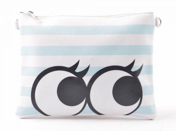 Clutch cartoon eyes blauw witte clutch tas met rits en polsbandje musthave dames etuis online kopen