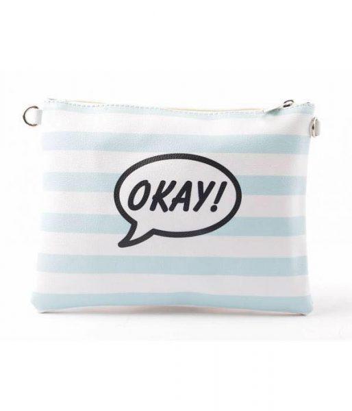 Clutch cartoon eyes blauw witte clutch tas met rits en polsbandje musthave dames etuis online kopen achterkant