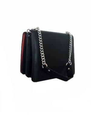 Duo Tas Sara zwart zwarte schoudertas zilveren ketting hengsel look a like dames tassen it bags online
