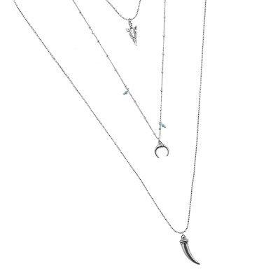 Lange Ketting Festival love zilveren zilver kettingen met bull tand bedels turquoise steentjes boho goedkoop dames sieraden details