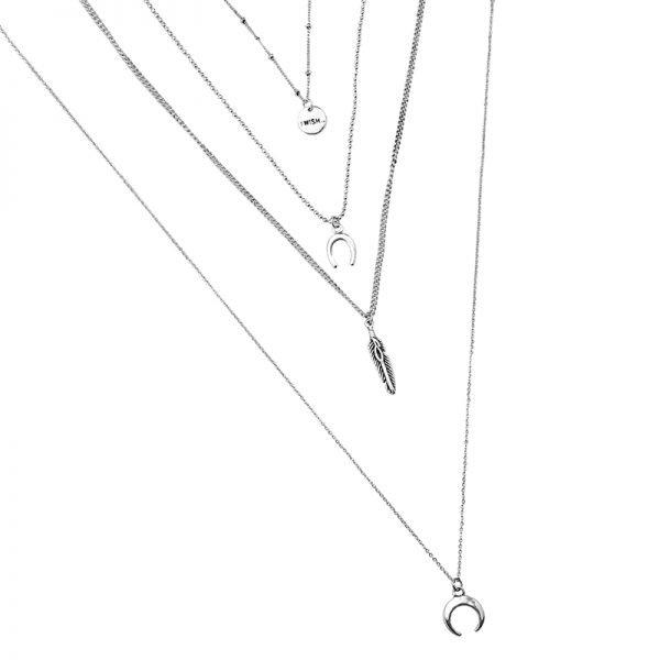 Lange Ketting Indian Dreams zilveren zilver kettingen met maan veer i wish bedels boho goedkoop dames sieraden details