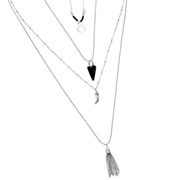 Lange Ketting Zomer liefde zilveren zilver kettingen met kwastje tand bedels zwarte steentjes boho goedkoop dames sieraden details
