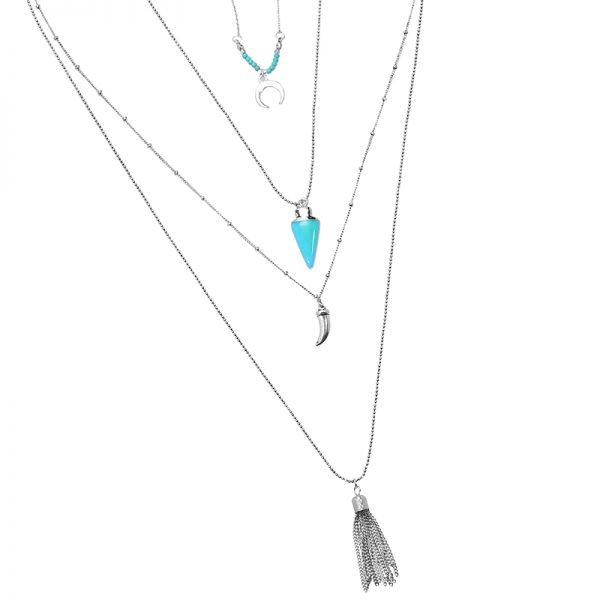 Lange Ketting Zomer liefde zilveren zilver kettingen met turquoise kwastje tand bedels accessoires boho goedkoop dames sieraden detail