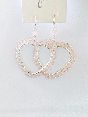 Oorbellen Pink Heart zilveren zilver oorbel roze kraaltjes valentijn love oorbellen sieraden accessoires nu