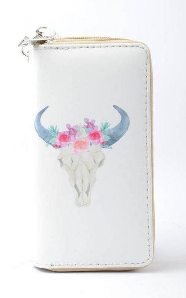 Portemonnee Bull wit witte Portemonnee met buffelkop pastelkleuren dames Portemonnees online kopen
