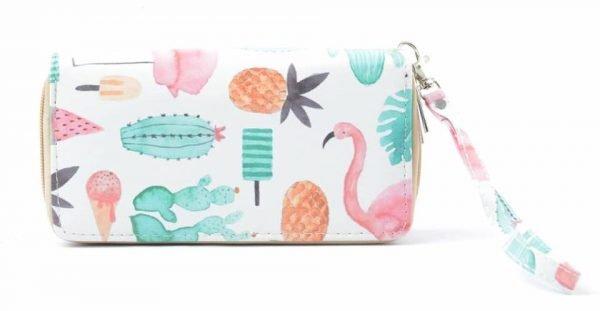 Portemonnee Flamingo wit witte Portemonnee met ananas cactus print pastelkleuren met polsbandje dames Portemonnees wallet online kopen nu