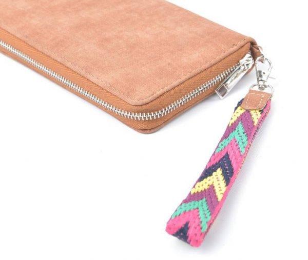 Portemonnee Multi Color Polsbandje bruin bruine Portemonnee met gekleurd polsbandje dames Portemonnees wallet online kopen