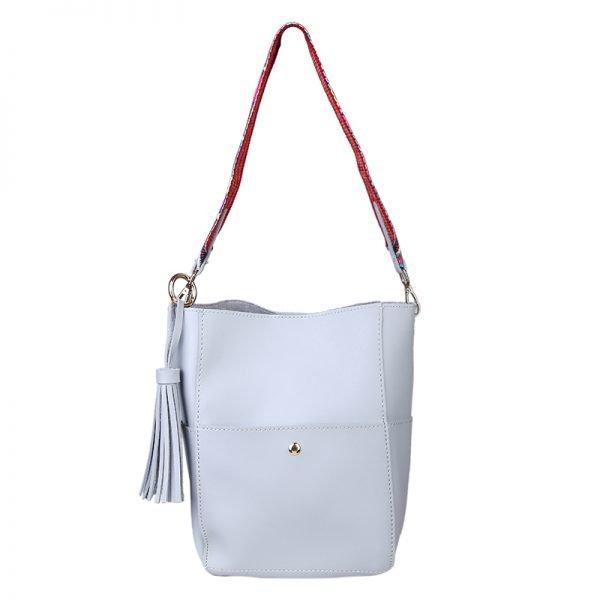 Shopper Charming pastel grijs grijze tassen met afneembare guitar hengsel en losse binnentas musthave tas kwastje