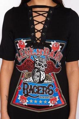 T shirt dress Rock zwart zwarte jurken t shirt stof veter v hals musthave tshirt dresses dames jurken online details