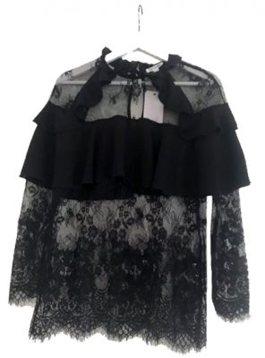 Zwarte kanten Top Lace zwart doorzichtige kanten trui vollant dames topjes kant kanten kleding online