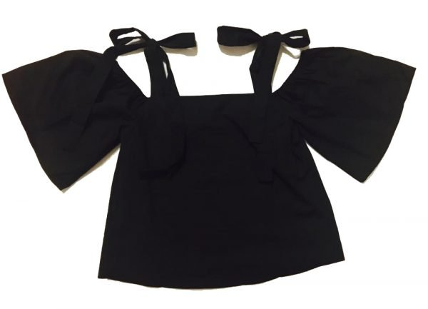zwart topje Lilly laag vallende schouders zomer topjes dames kleding zomer kleding zwarte truitjes online