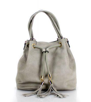 Bucket Bag Must grijs grijze dames tassen kwastjes gevlochten hengsel mooie goedkope dames tassen online