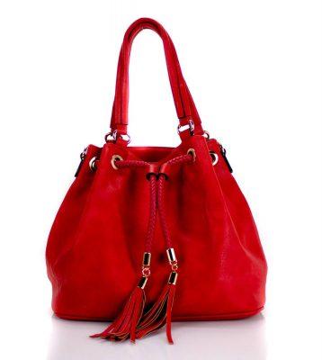 Bucket Bag Must rood rode dames tassen kwastjes gevlochten hengsel mooie goedkope dames tassen online