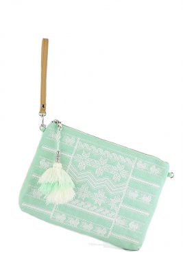 Clutch Graphic mint clutches met witte print boho clutches festival tassen dames online