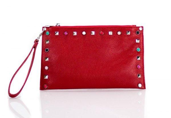 Leren Clutch Slay rood rode lederen dames clutches gekleurde studs valentino look a like musthave tassen
