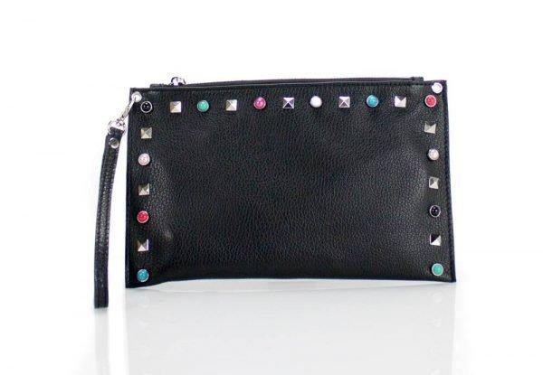 Leren Clutch Slay zwart zwarte lederen dames clutches gekleurde studs valentino look a like musthave tassen