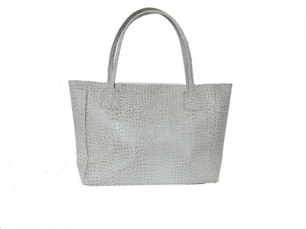 Leren Shopper Reptiel grijs grijze grote dames tassen van dierenhuid shoppers lederen tassen online luxe
