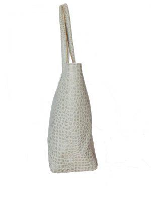 Leren Shopper Reptiel grijs grijze grote dames tassen van dierenhuid shoppers lederen tassen online luxe zijkant