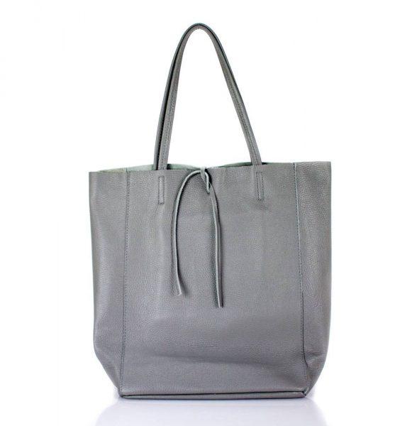 Leren Shopper Simple Grijs grijze ruime dames shopper zacht leer online luxe dames tassen italie bestellen