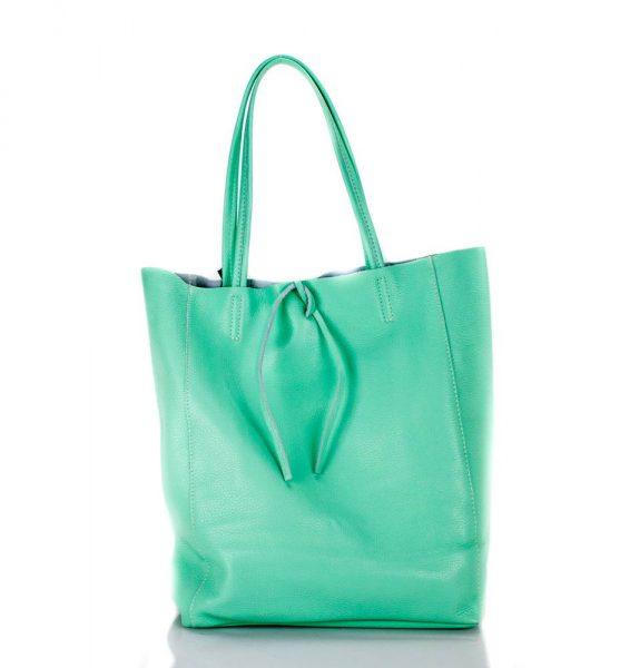 Leren Shopper Simple groen groene mint turquoise ruime dames shopper zacht leer online luxe dames tassen italie bestellen