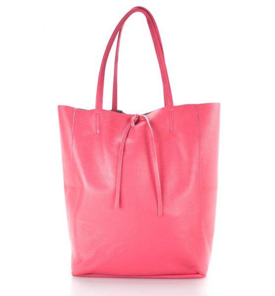 Leren-Shopper-Simple-roze pink-ruime-dames-shopper-zacht-leer-online-luxe-dames-tassen-italie-bestellen-557x600