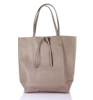 Leren Shopper Simple taupe ruime dames shopper zacht leer online luxe dames tassen italie bestellen