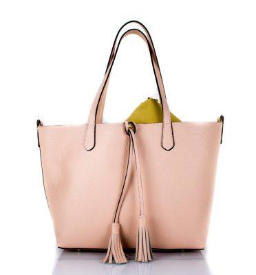 Leren Shopper Tassle zacht roze pink luxe ruime dames shoppers extra binnentas leder mooie online bestellen