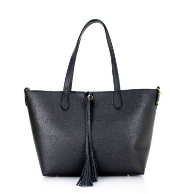 Leren Shopper Tassle zwart zwarte luxe ruime dames shoppers extra binnentas leder mooie online bestellen