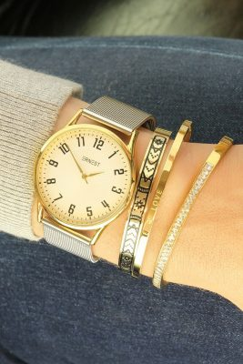 RVS Armband Meysa goud gouden armband afgewerkt met diamantjes steentjes rondom musthave dames armbanden online