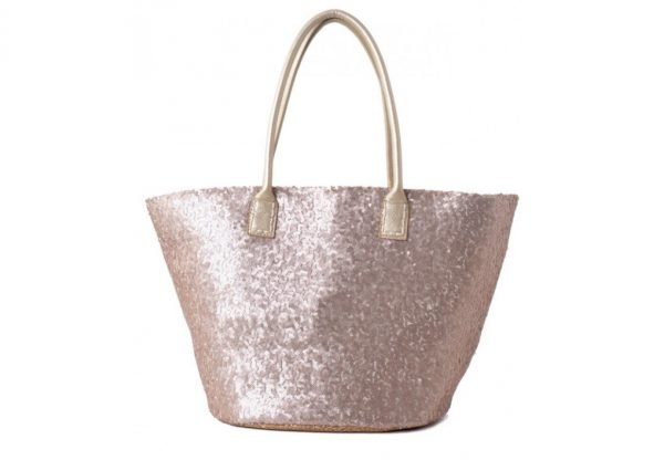 Shopper glitter rose goud gouden dames shopper met pailletten gouden hengsel musthave dames tassen online