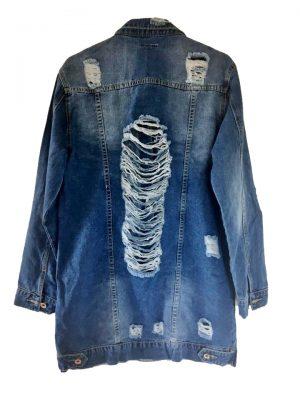 Spijkerjas Retro Spijkerjas-oversized-denim-jas-jacket-retro-spijkerjassen-distressed-look- geraffelde open rug musthaves-dames-kleding-online achterkant1